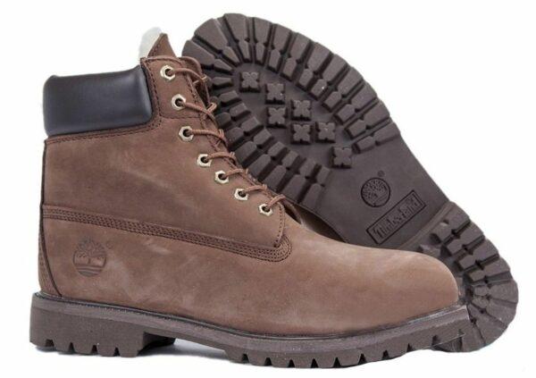 Ботинки Timberland Classic с мехом коричневые 36-46