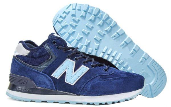 Зимние NEW BALANCE 574 High замша синие с голубым (36-40)